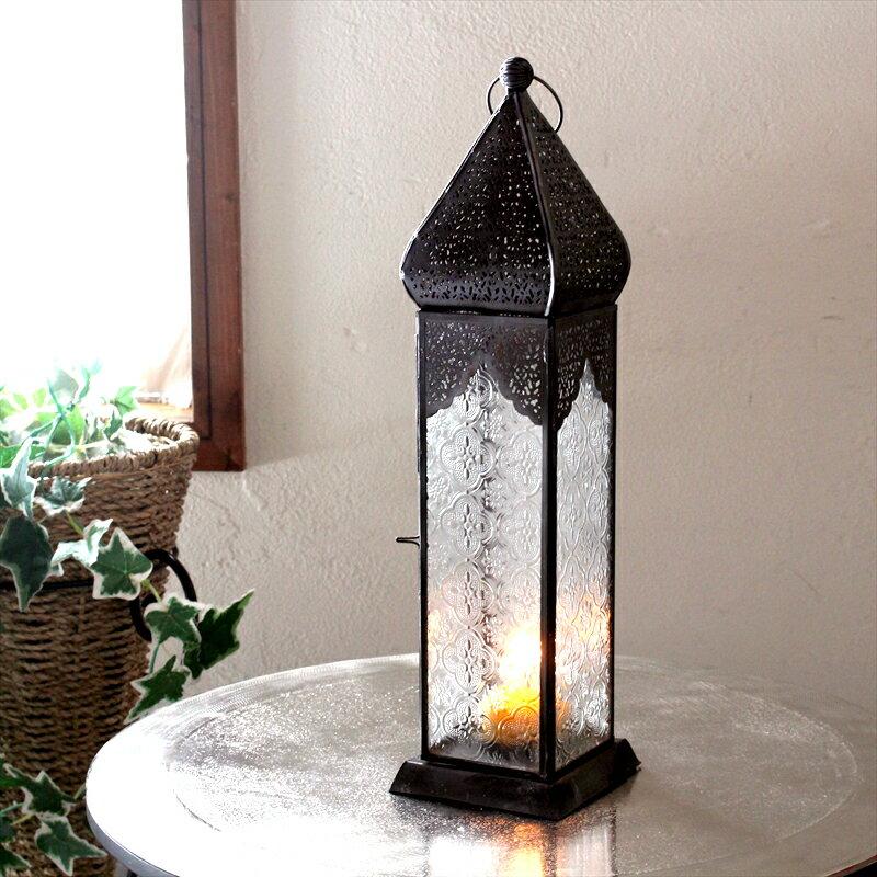 モロッコランタン・キャンドルホルダー 高さ41cm オリエンタルランプ4面のレリーフガラス Morocco Lantern Candle holder
