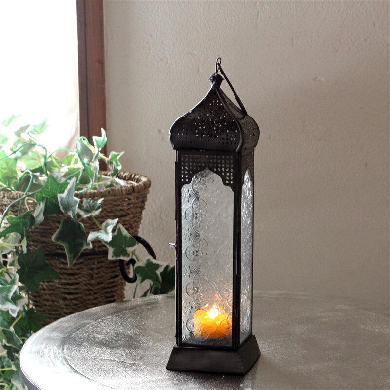 モロッコランタン・キャンドルホルダー 高さ31cm Morocco Lantern Candle holder4面のレリーフガラス テーブルランプ