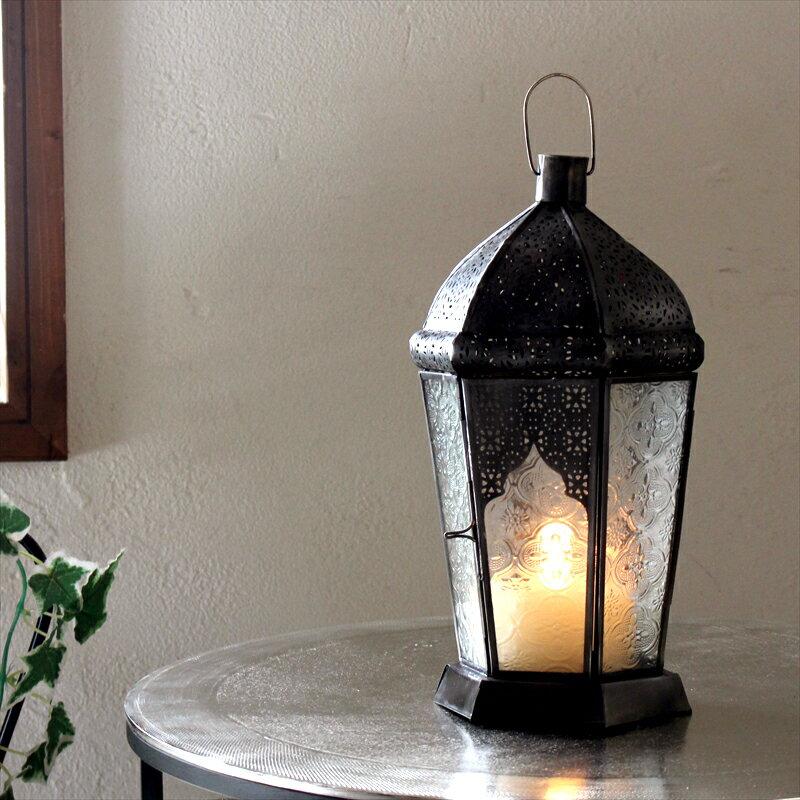 モロッコランタン・キャンドルホルダー 高さ28.5cm Morocco Lantern Candle holder6面のレリーフガラス