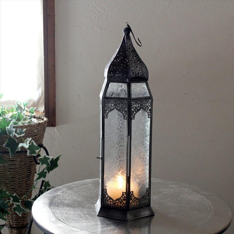 モロッコランタン・キャンドルホルダー 高さ44cm Morocco Lantern Candle holder6面のレリーフガラス フロアランプ