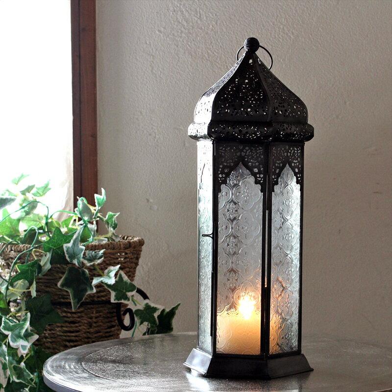 モロッコランタン・キャンドルホルダー 高さ40cm オリエンタルランプ6面のレリーフガラス Morocco Lantern Candle holder
