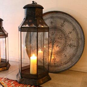 ブラス製ランタン(キャンドルホルダー)アラブ風モロッコランプ・ihex09店舗照明・エスニック・BOHO・輸入照明