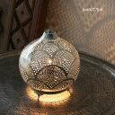 モロッコ メタルシェード・スタンドランプ/Moroccan Metal shade LampsΦ18cm/Sogan シルバー色/レインボー