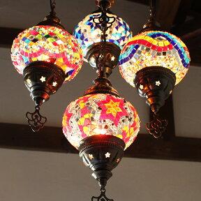 トルコランプ/モザイクガラスランプシャンデリア5灯段違いカラフル/15W×5灯