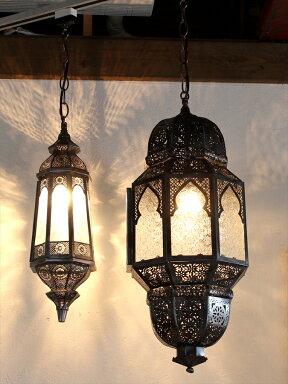 モロッコランプ・ランタンレリーフガラス8面のエキゾチックなランタン・ミフラープMoroccoLamp,Mihrab,25W1灯ペンダントランプ1灯