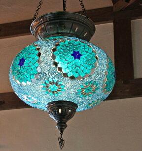 トルコ大型照明・パレスランプ・ガラスペンダントランプ1灯/直径36cmターコイズフラワーE1725wミニクリプトン電球
