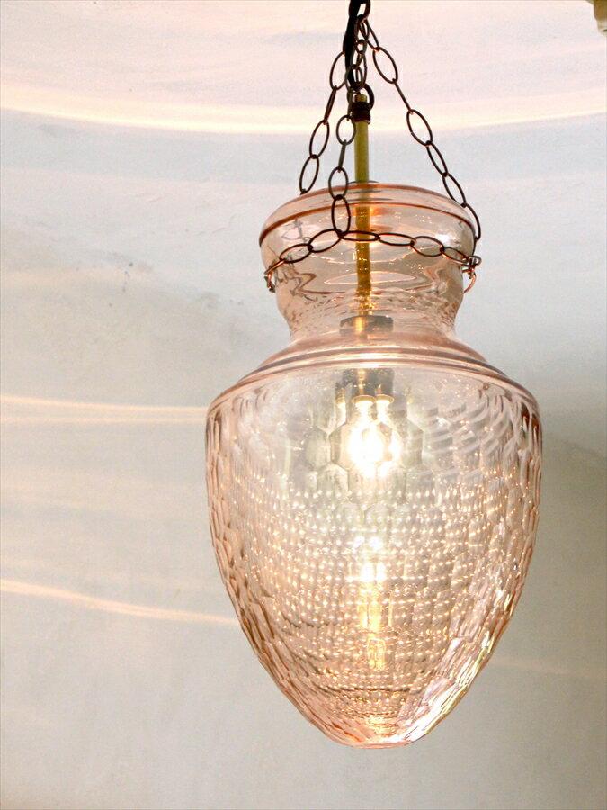 ペンダントランプ/ベルジャーランタン・コロニアルスタイルディンプル ペールピンク British colonial Bell jar lanterns, Hindi Lamp dimple E17/25W ミニクリプトン球付属