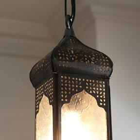 モロッコランタン・ガラスペンダントランプ/キャンドルホルダー全長75cmMoroccoLanternCandleholder4面のレリーフガラス/25W1灯ペンダントランプ1灯