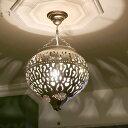 モロッコランプ/Moroccan Metal shade Lamps 【加工跡あり】 メタルシェード・ペンダントランプ エジプト製 φ31cm シルバー色 E17 25…