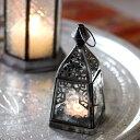 モロッコランタン・キャンドルホルダー 高さ16cm オリエンタルランプ4面のレリーフガラス Morocco Lantern Candle …
