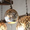 モロッコランプ/Moroccan Metal shade Lamps メタルシェード・ペンダントランプ エジプト製/Football直径19cm シルバ…