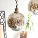 モロッコランプ/MoroccanMetalshadeLampsメタルシェード・ペンダントランプエジプト製φ19cm/Footballシルバー色/ロータスE1725W白熱電球付き