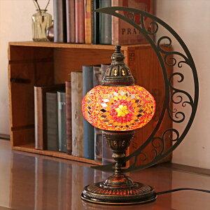 トルコランプ モザイクランプ テーブルランプ クレッセントムーン 高さ43cm ガラス直径16cmレッドスター E17/25W