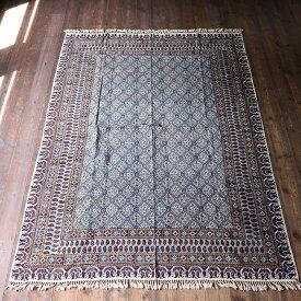 ペルシャ更紗・ガラムカール(イラン・手染布)200cmサイズ長方形アンティークデザイン・フラワー柄/コットンマルチカバー・ソファーカバー・ベッドカバー OUTLET・難あり