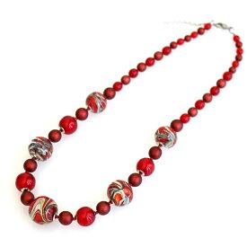 ベネチア ムラーノ ガラス ネックレス/Venetian Handmade Glass Necklace カルチェドニオ/レッド