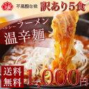 【送料無料】1,000円ポッキリ!ヘルシー温辛ラーメンたっぷり5食セット!当店大人気の冷麺の麺と、温かい甘辛しょうゆ…