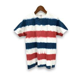 タイダイ Tシャツ 染め ボーダー 柄 フルーツ オブ ザ ルーム 半袖 Tシャツ : TS-343