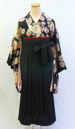 【レンタル送料無料】小振袖・袴セット「黒地にシック菊と麻の葉」