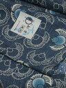 竺仙鑑製浴衣地 綿紬 ふくらすずめ文 藍(ジャパンブルー) すずめの柄に青色のボカシ有り【ちくせん】【ゆかた】【つむぎ】【反物】…