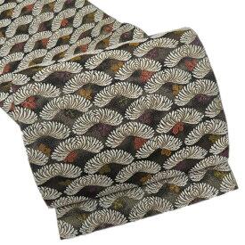 扇菊の図 気品豊かな織りの美 黒 袋帯 【中古】 A353-1