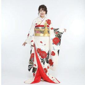 【引き振袖レンタル】ブライダル 結婚式 貸衣裳 引き振袖 前撮り『白・赤バラと黒の蝶』of-05