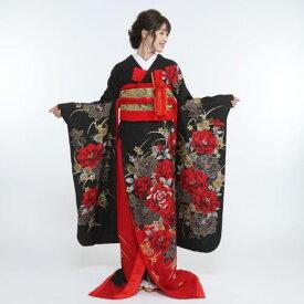 【引き振袖レンタル】ブライダル/結婚式/貸衣裳/引き振袖/前撮り 『黒・裾赤・バラ』of-06