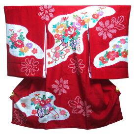 【送料無料】祝着 お宮参り 産着 日本製 絞り 本染め のしめ 一つ身 女の子 手描き友禅 金彩 白・赤 正絹 花車 花 赤地 かわいい 可愛い 女児 長襦袢付き 赤ちゃん ベビー きもの 着物 化粧箱付き 牡丹 ぼかし 一ツ身