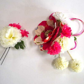 【送料無料】髪飾り 2点セット 髪かざり 造花 成人式 振袖用 結婚式 卒業式 袴 はかま 和装 着物 きもの ドレス ヘアアクセサリー かわいい 綺麗 きれい 華やか 浴衣 ゆかた 花 和風 和柄 和装 洋装 洋風 水引 白色 赤
