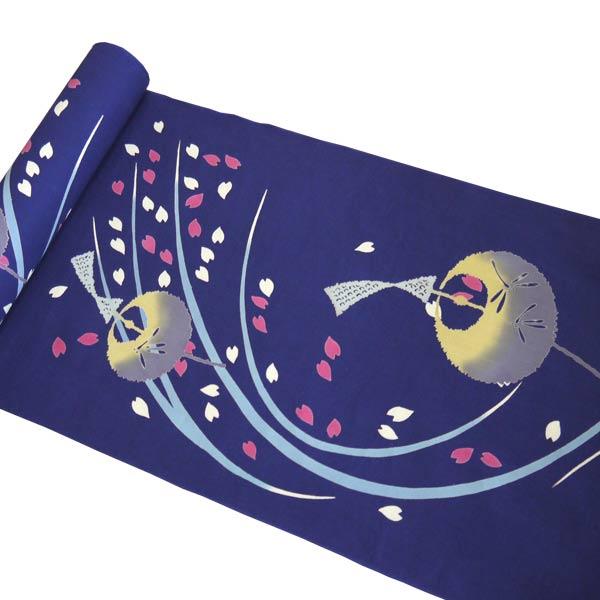 【送料無料】【夏すがた 本染め 高級 青 風鈴 ふうりん 桜】浴衣 反物 お仕立て付き ゆかた 女性用 レディース大きいサイズ 小さいサイズ フルオーダー 国内手縫い 別注 お誂え 新品 ブランド 可愛い かわいい 人気 粋な クインサイズ 紺色 さくら