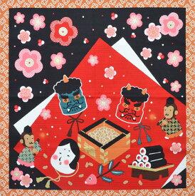 四季彩布 和柄 シャンタンチーフ 小風呂敷 二月 節分 【ハンカチ】【ランチクロス】【豆まき】【50cm】 【日本製】