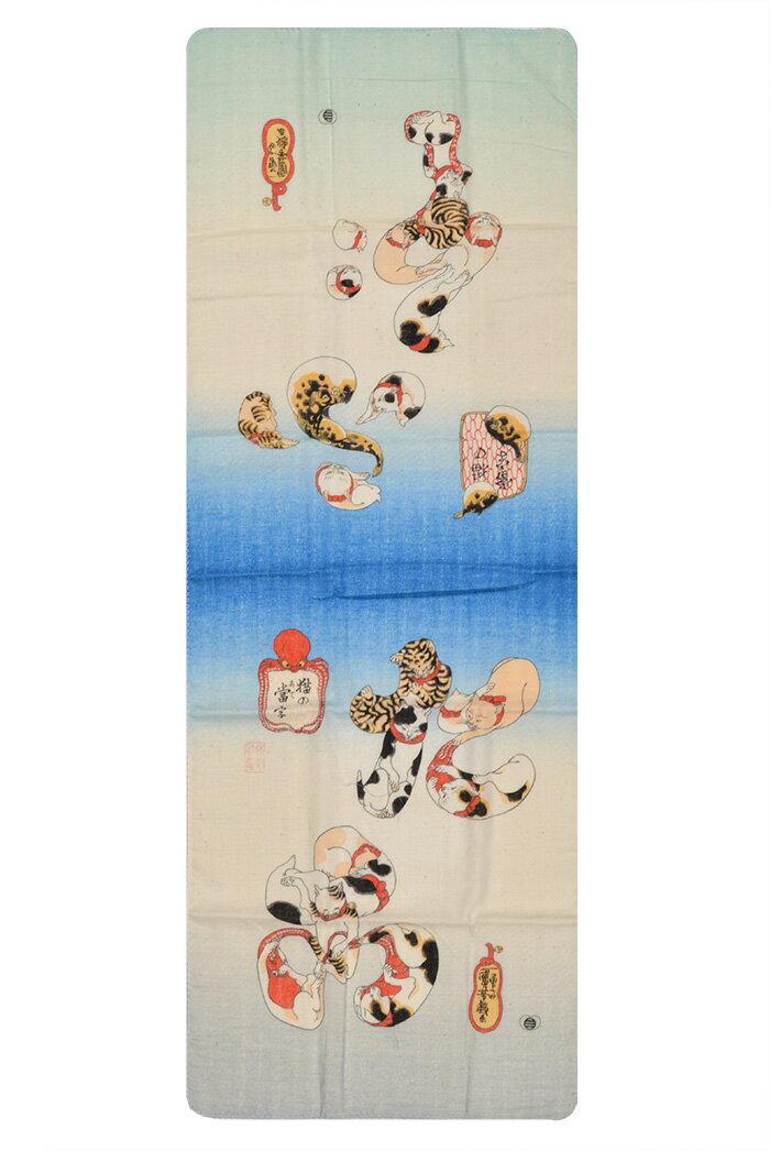 ≪国芳の浮世絵ふんわりてぬぐい≫ 猫の当て字 【和雑貨】【ハンカチ】【日本製】【ご自宅用で4点までネコポス対応】