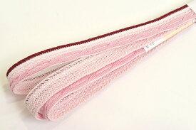 【長尺】 夏用 正絹帯締め 薄ピンク×臙脂 【日本製】【ロングサイズ】