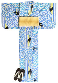 ≪凪≫ お仕立て上がり浴衣3点セット ホワイト×水色 ツバメ ☆もれなく帯&下駄プレゼント☆ 【フリーサイズ】【古典柄】 【女性】【レディース】