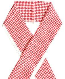 【2020年小物福袋対象商品】正絹 半衿 生成×赤 千鳥格子 【シルク半襟】【ネコポス対応】