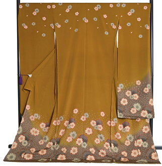 In pure silk furisode 24-piece set (with ornament) mustard color cherry blossoms and snow wheels