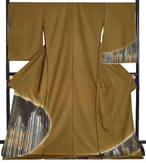 Pure silk fabrics embroidery visiting dress (non-sewing) mustard-colored Sugibayashi