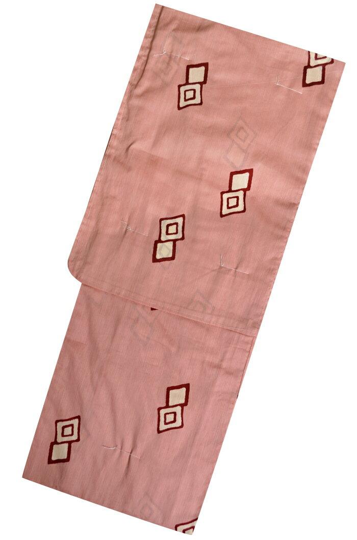 ≪LOWRYSFARM≫ お仕立て上がり浴衣 ≪単品≫ 薄桃色 ダイヤ柄(菱型) 【フリーサイズ】
