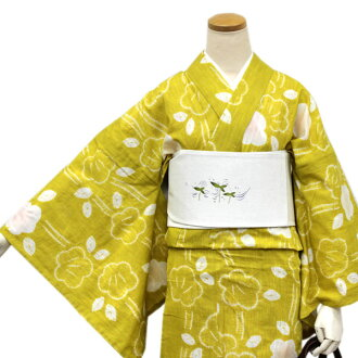 I can wear it as soon as it reached it because it is newly made yukata cotton hemp mustard place Japanese apricot crest Kyoto hat diaphragm newly made << kt ウク >>