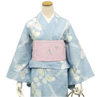 I can wear it as soon as I arrived because it is newly made yukata cotton hemp light blue place butterfly Kyoto hat diaphragm newly made << kt ウク >>