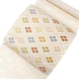 名古屋帯 絹 西陣織 仕立て付き なごや帯 三通柄 九寸 証紙 芳彩織謹製 白 カラフル 三重襷 菱 柄 女性 レディース 日本製 着物 和装 和服 洒落 送料無料 wgクコ