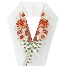 刺繍 半衿 単品 白 ピンク オレンジ グリーン ゴールド 菊 桜 レディース 日本製 女性 和服 和装 着物 振袖 化繊 あす楽 メール便 セミフォーマル カジュアル 東洋紡 シオゼ エビエラウォーム DM便発送可能 kdチニ