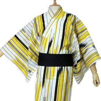 阪神老虎商品幫助浴衣人白矢絣M L品牌標記虎布料印刷浴衣男人性物品條紋黄色黑木棉棉布職業棒球促銷單對象外