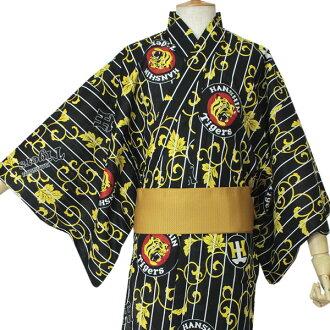 阪神老虎商品幫助浴衣人黑條紋爬山虎M L品牌標記虎布料印刷浴衣男人性物品條紋黄色赤木棉棉布職業棒球促銷單對象外