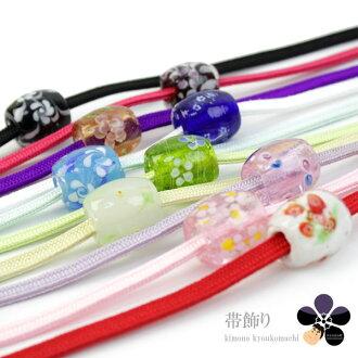 和服 obijime 编织浴衣周末一角天时尚配件夏天穿的夏天带很容易花蜻蜓球覆盖]