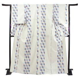 洗える着物 袷 小紋 フリーサイズ 仕立て上がり 単品 ベージュグレー ファスナー 永楽屋 レトロ アンティークデザイン 女性 レディース 和装 和服 きもの プレタ 袷きもの カジュアル 普段着 送料無料 あす楽 ktふう