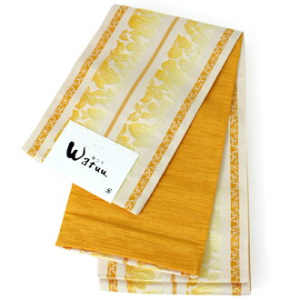 Obi yukata zone Lady's one piece of article brand sum つう watuu secret path flower yellow Lady's yukata zone リーシブル half-breadth sash woman summer clothes thing Japanese binding kimono retro KZ lengthens big size, and lengthiness of a reel of film or tape