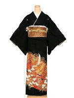 留袖レンタル赤オレンジ松に菊飛鶴送料無料(黒留袖)(結婚式)