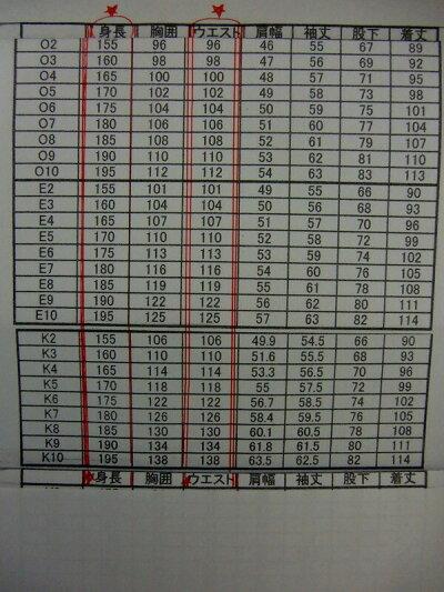 サイズ表(ウエスト(96cm〜138cm)(身長150cm〜195cm)