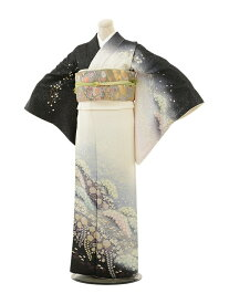 【レンタル】訪問着 結婚式 ブライダル およばれ レンタル 送料無料 着物 辻が花 白 ラメ 袖丈長め