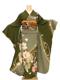 【レンタル】振袖 レンタル 成人式 着物 セット モスグリーン大輪さくら60
